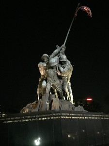 Students were treated to a nighttime tour of historic Washington to view the monuments and honor our nation's brave heroes, like those in this moving statue depicting the raising of the American flag at the Battle of Iwo Jima during World War II.
