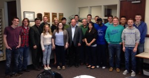 2015 Law, Justice, and Culture Institute students were joined by a few Olivet business students to hear Marty Ozinga, III, of Ozinga Brothers, speak to the class on Christian worldview in business and the importance of free market principles.